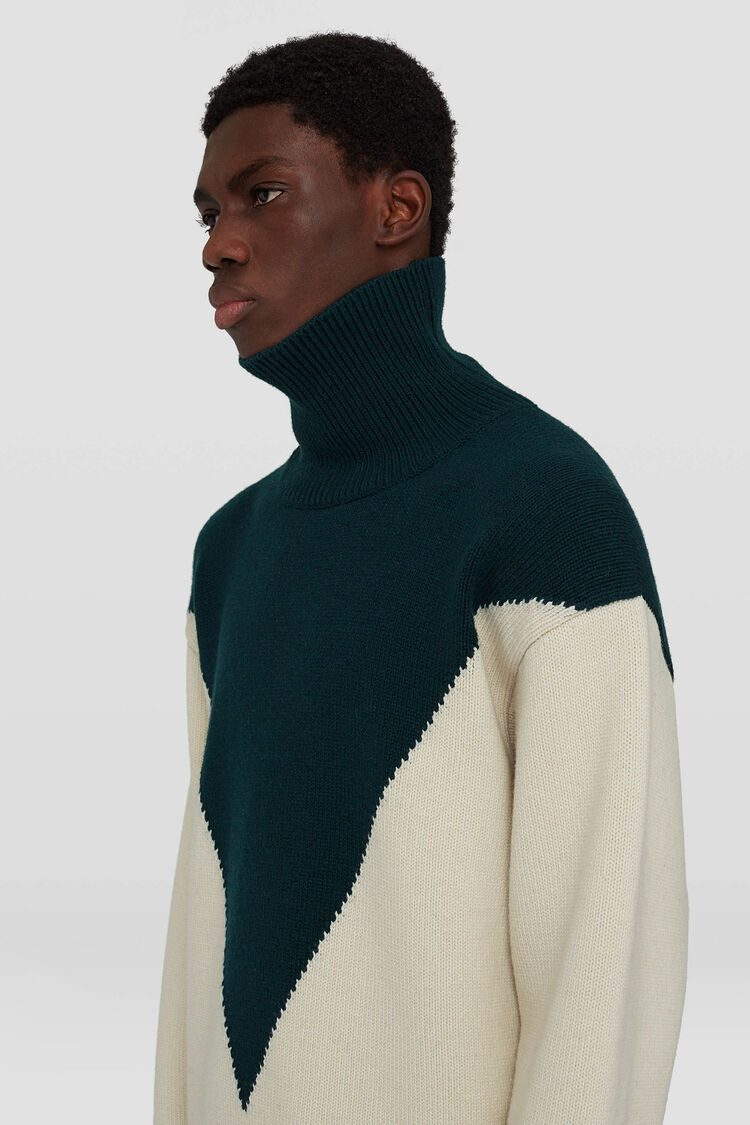 High Neck Sweater, green, large