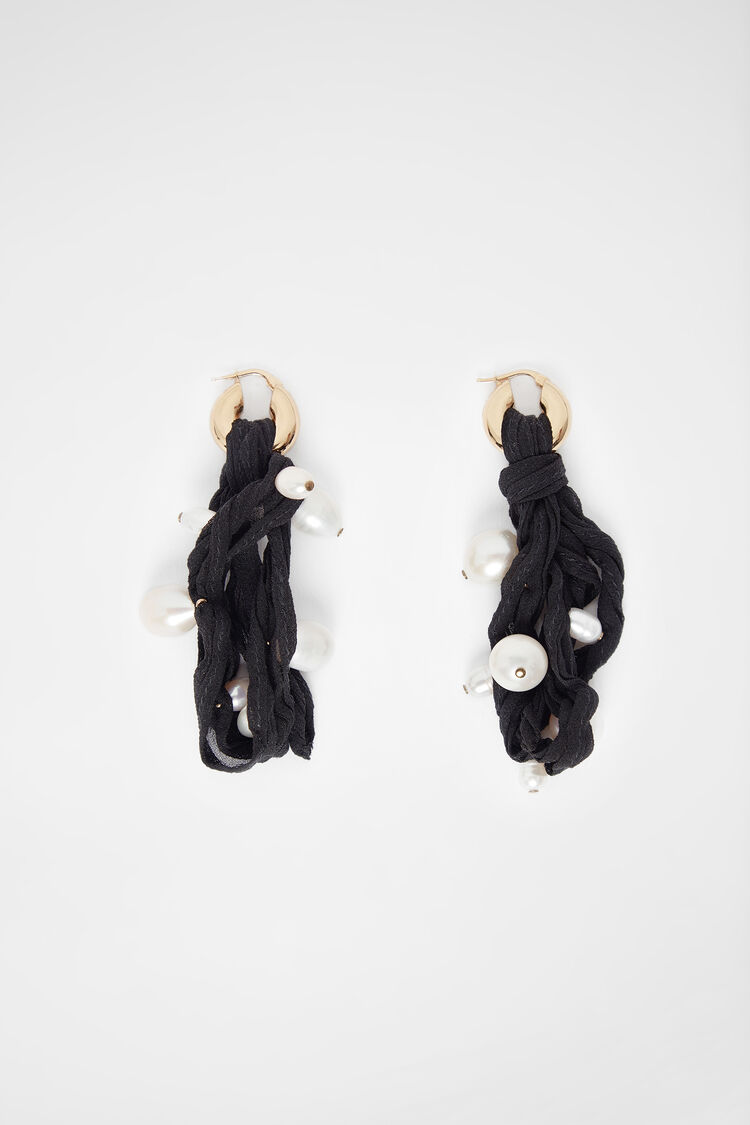 Earrings, black, large