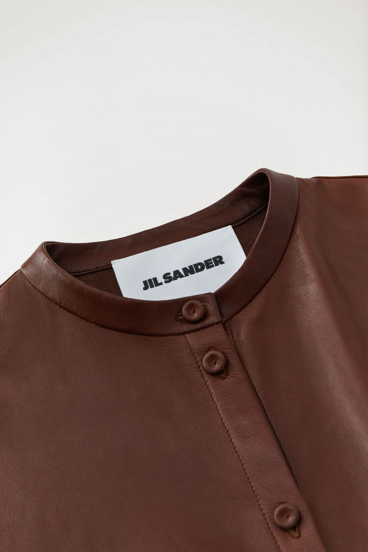 Leather Shirt, dark brown, large