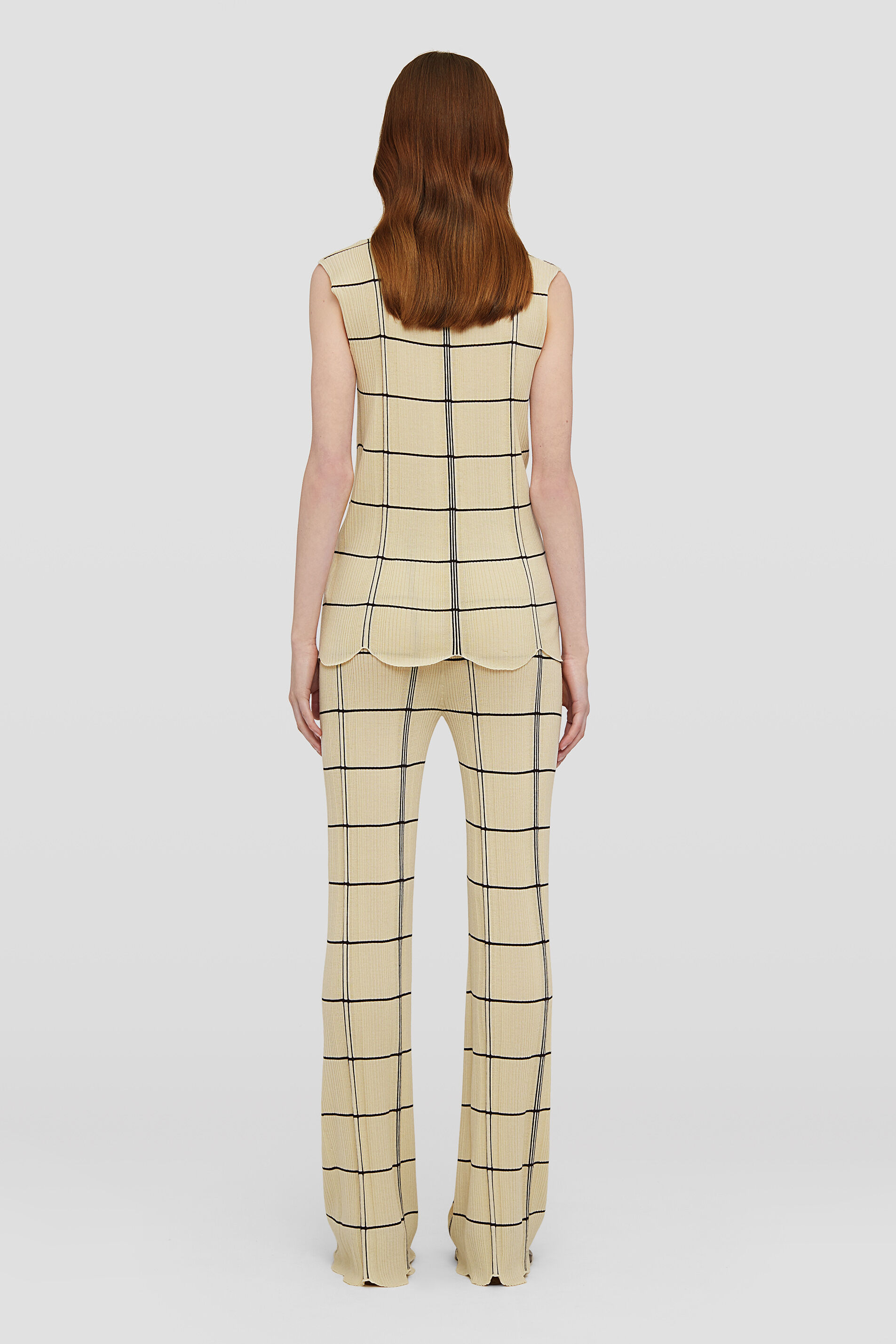 Checked Trousers, beige, large