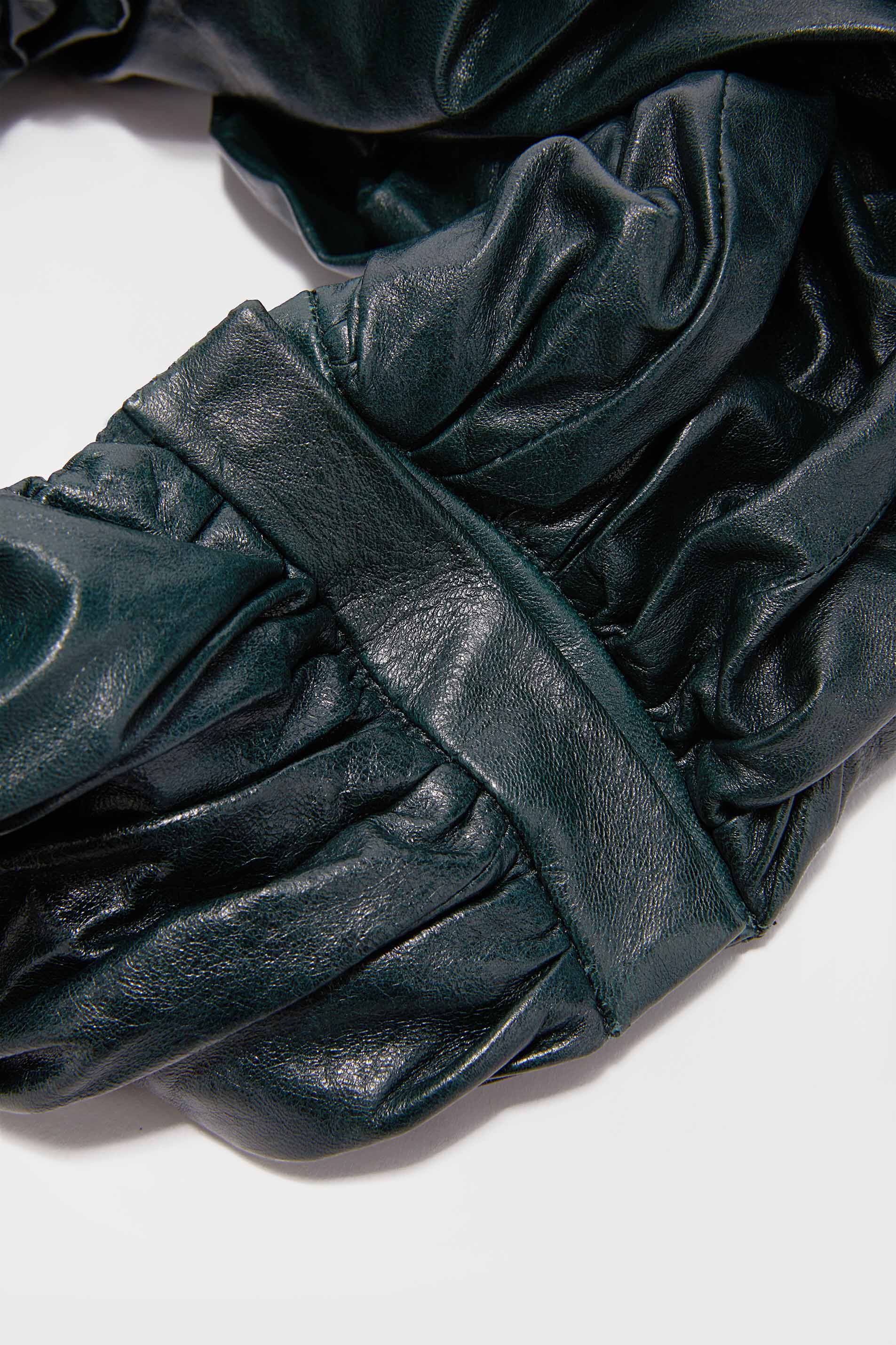 Leather Scarf, dark green, large