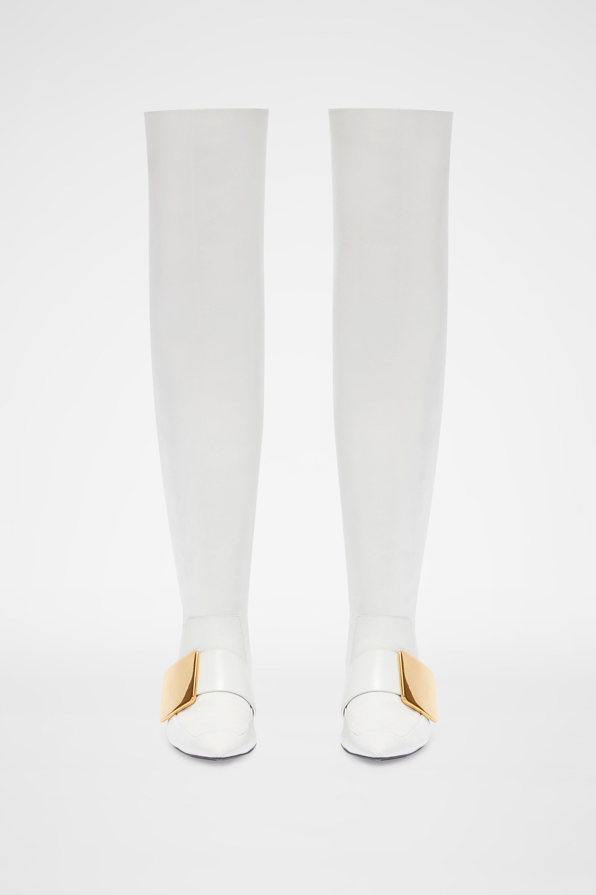 Knee Boots, white, large