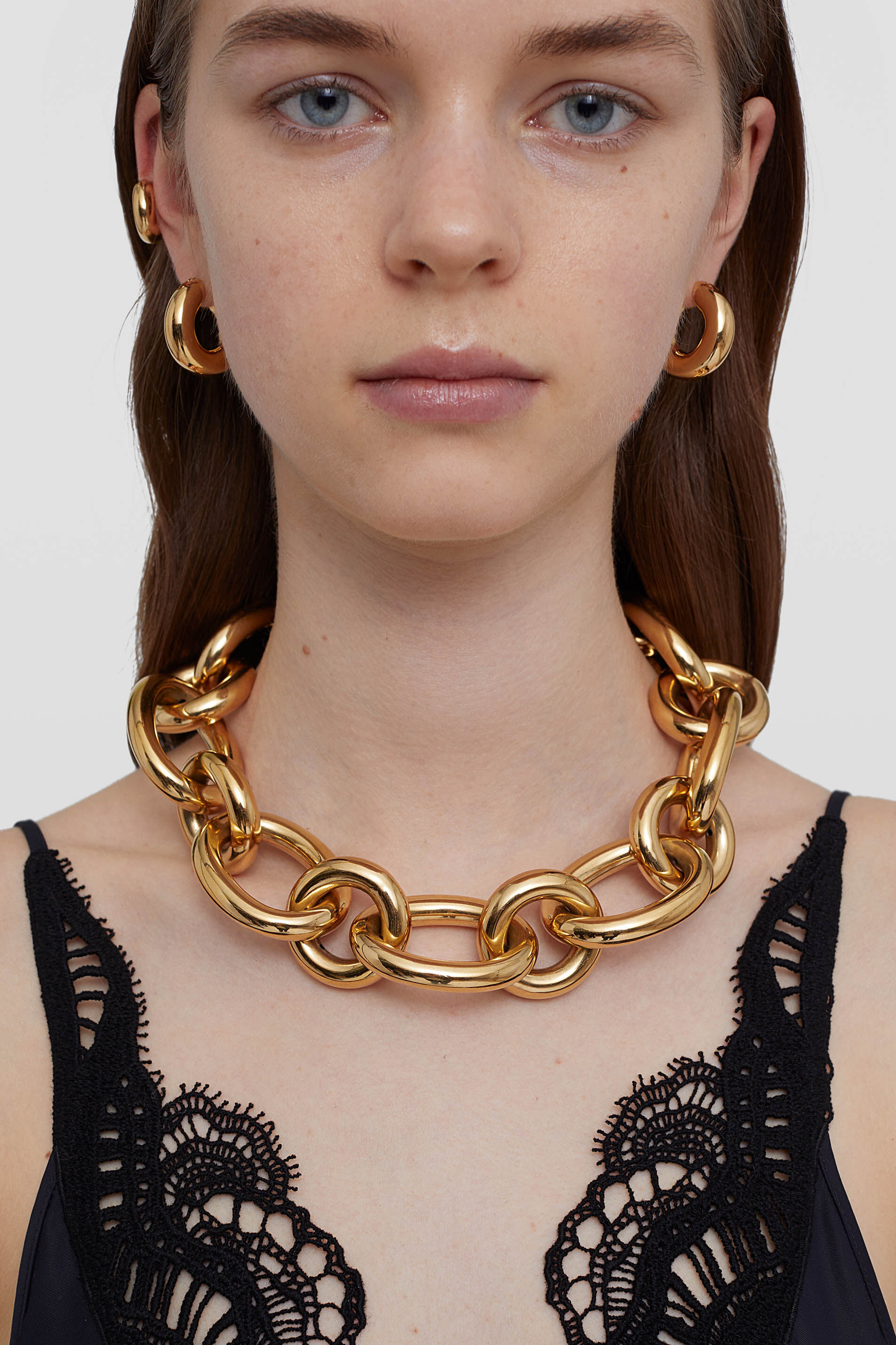 Necklace, gold, large