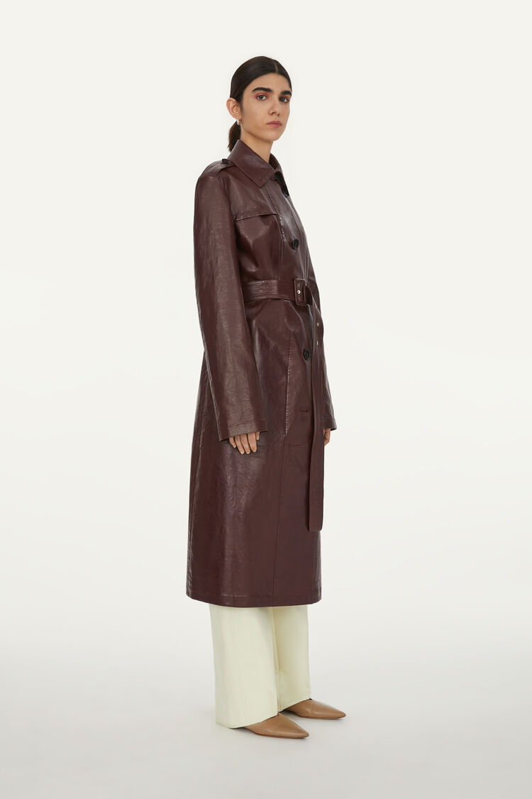 Leather Trench, dark brown, large
