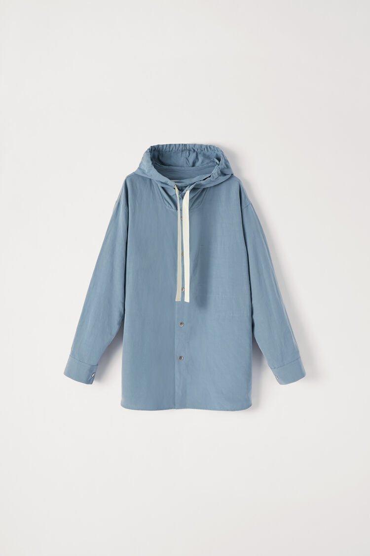 Hooded Shirt Jacket, turquoise, large