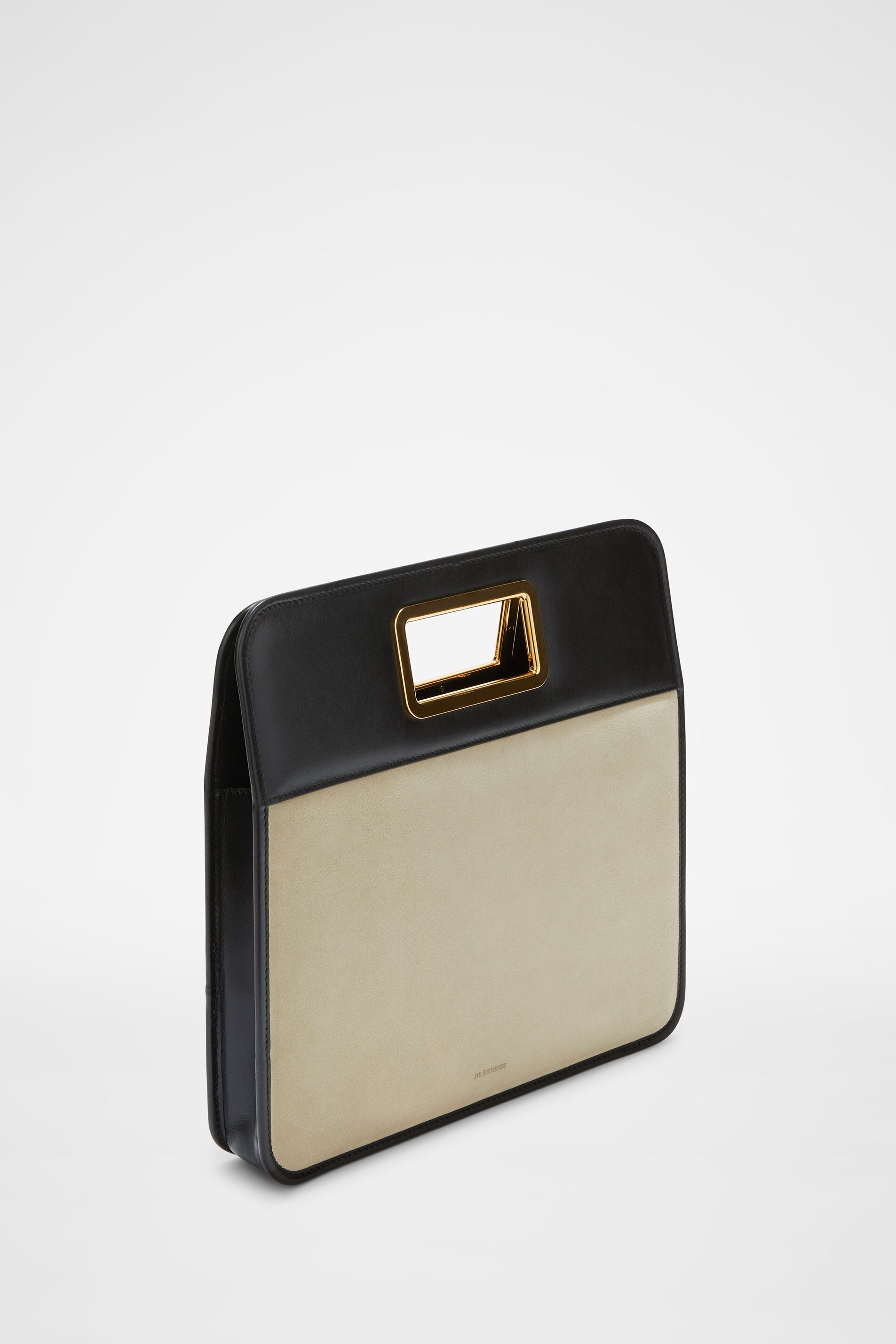 Square Handle Clutch, beige, large