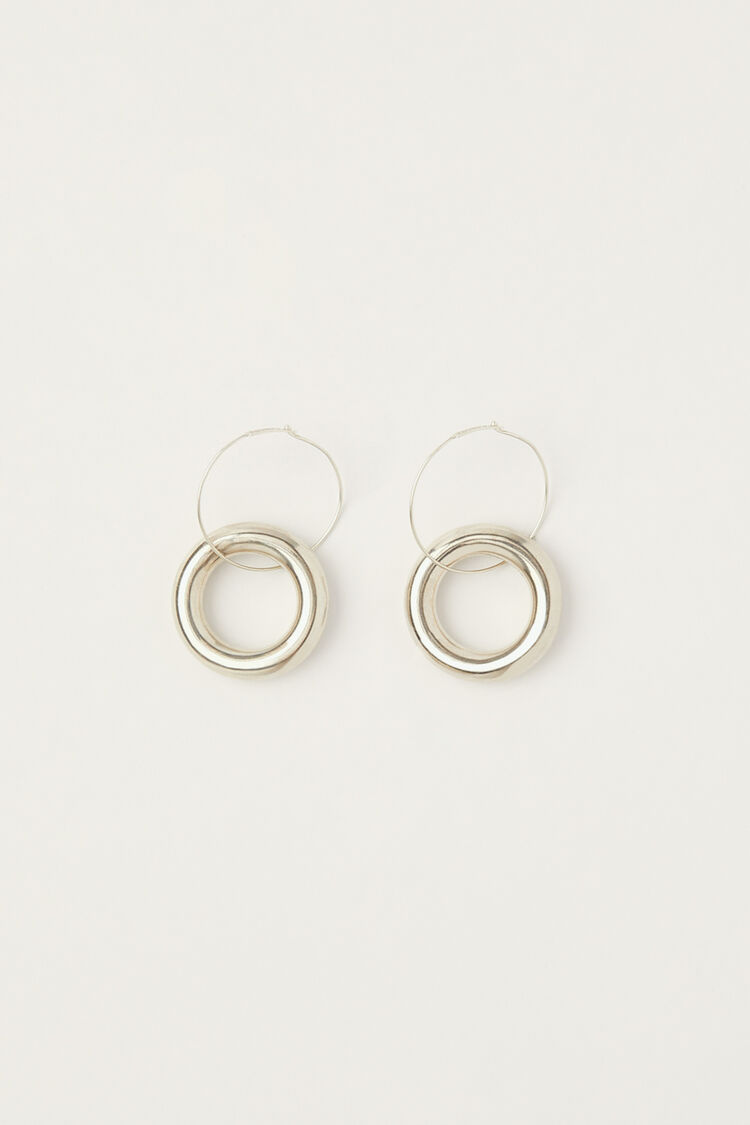 Earrings, silver, large