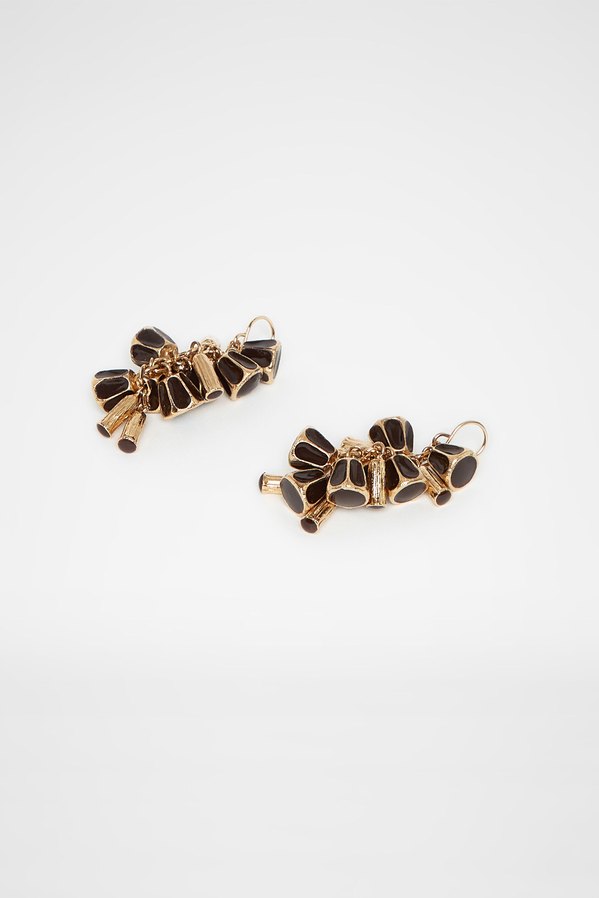 Earrings, dark brown, large