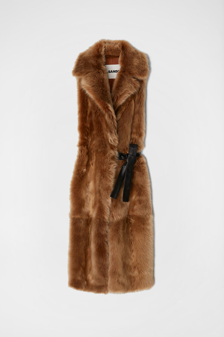Gilet in shearling, beige scuro, large