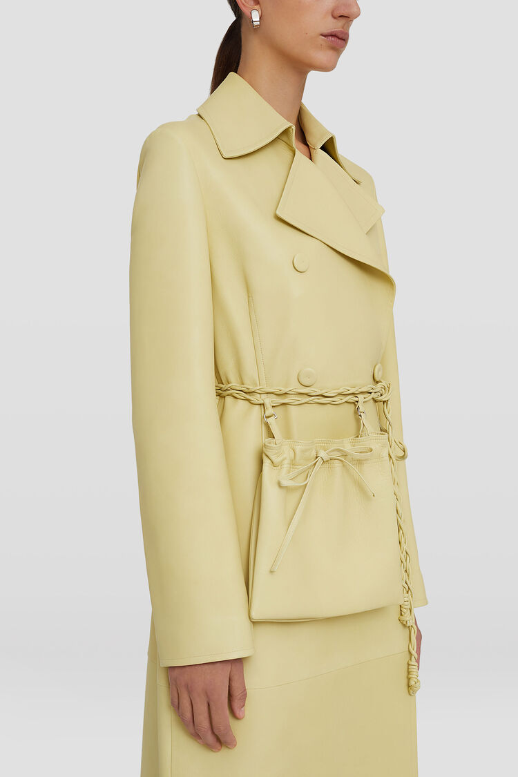 Leather Trench, pastel yellow, large