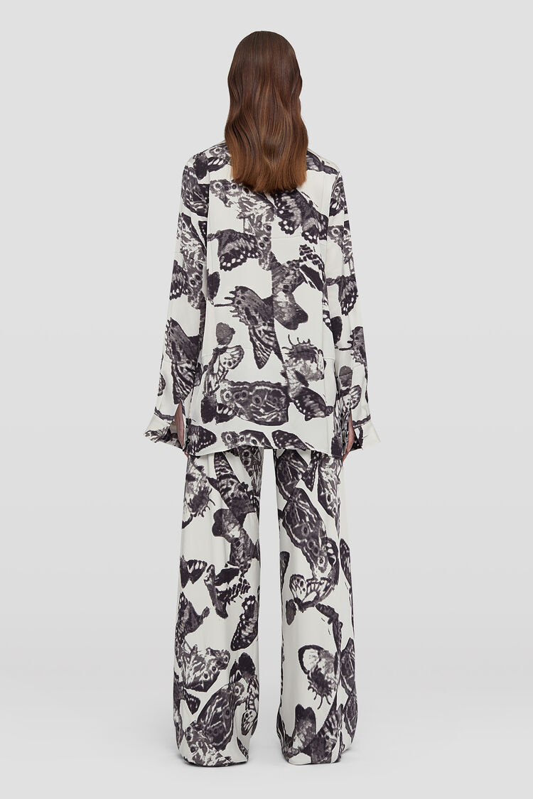 Printed Flared Trousers, white, large