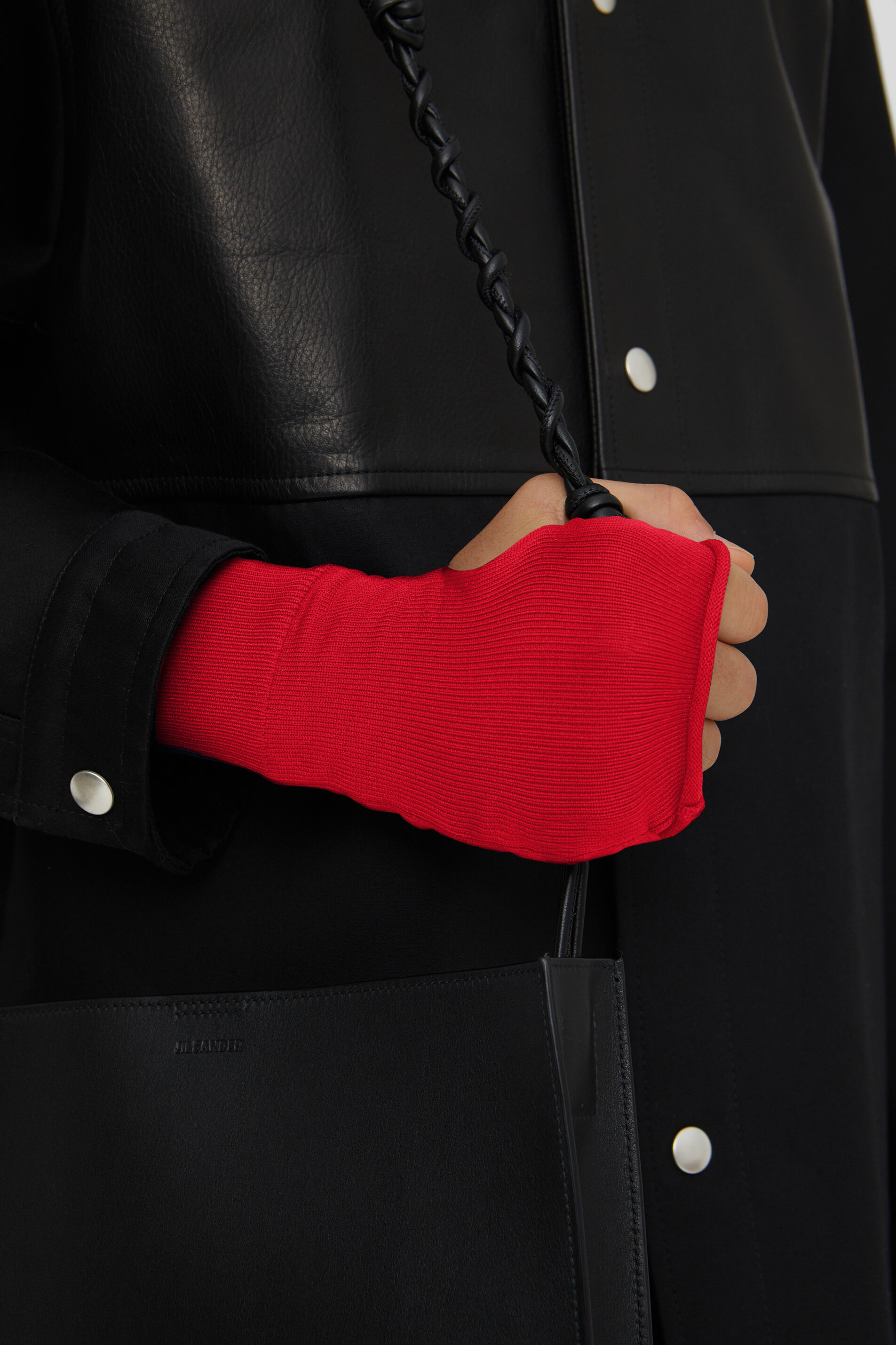 Fingerless Gloves, red, large