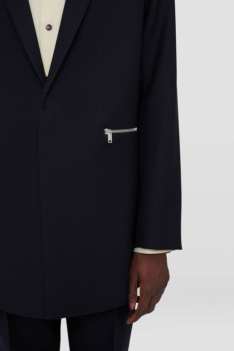 Tailored Printed Patch Jacket, dark blue, large