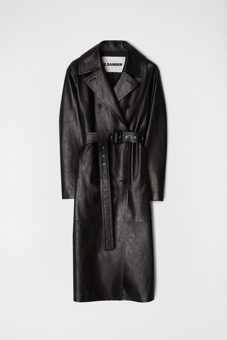 Trench in pelle, nero, large