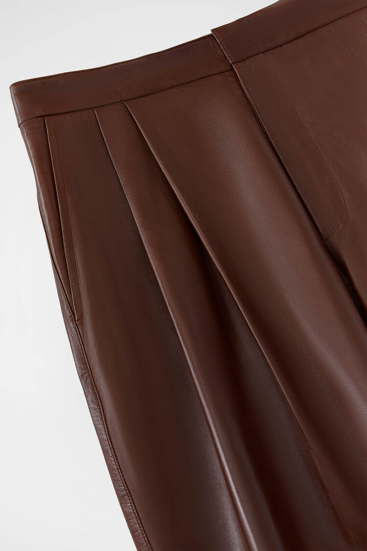 Leather Trousers, dark brown, large