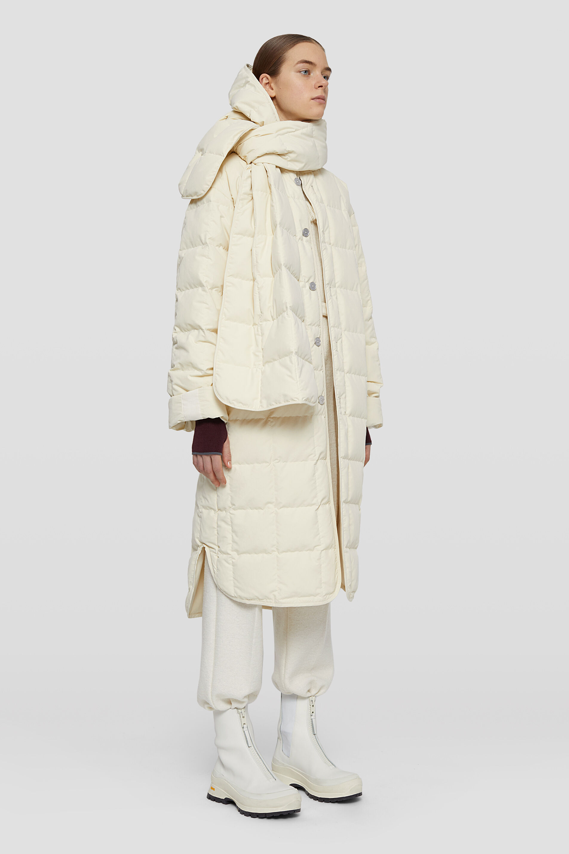 Quilted Down Coat, beige, large