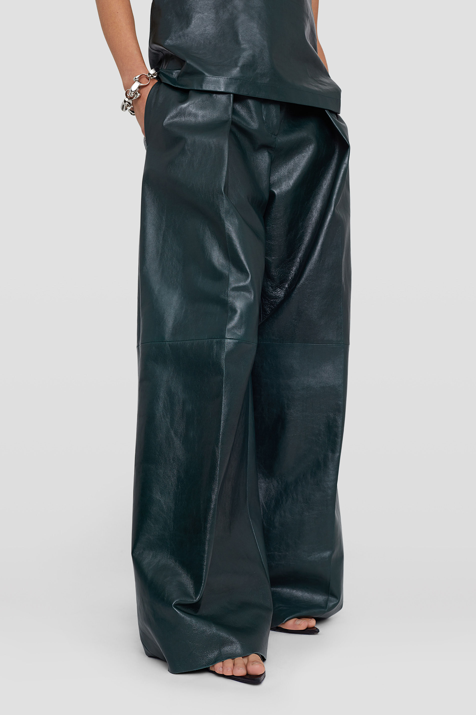 Leather Trousers, dark green, large