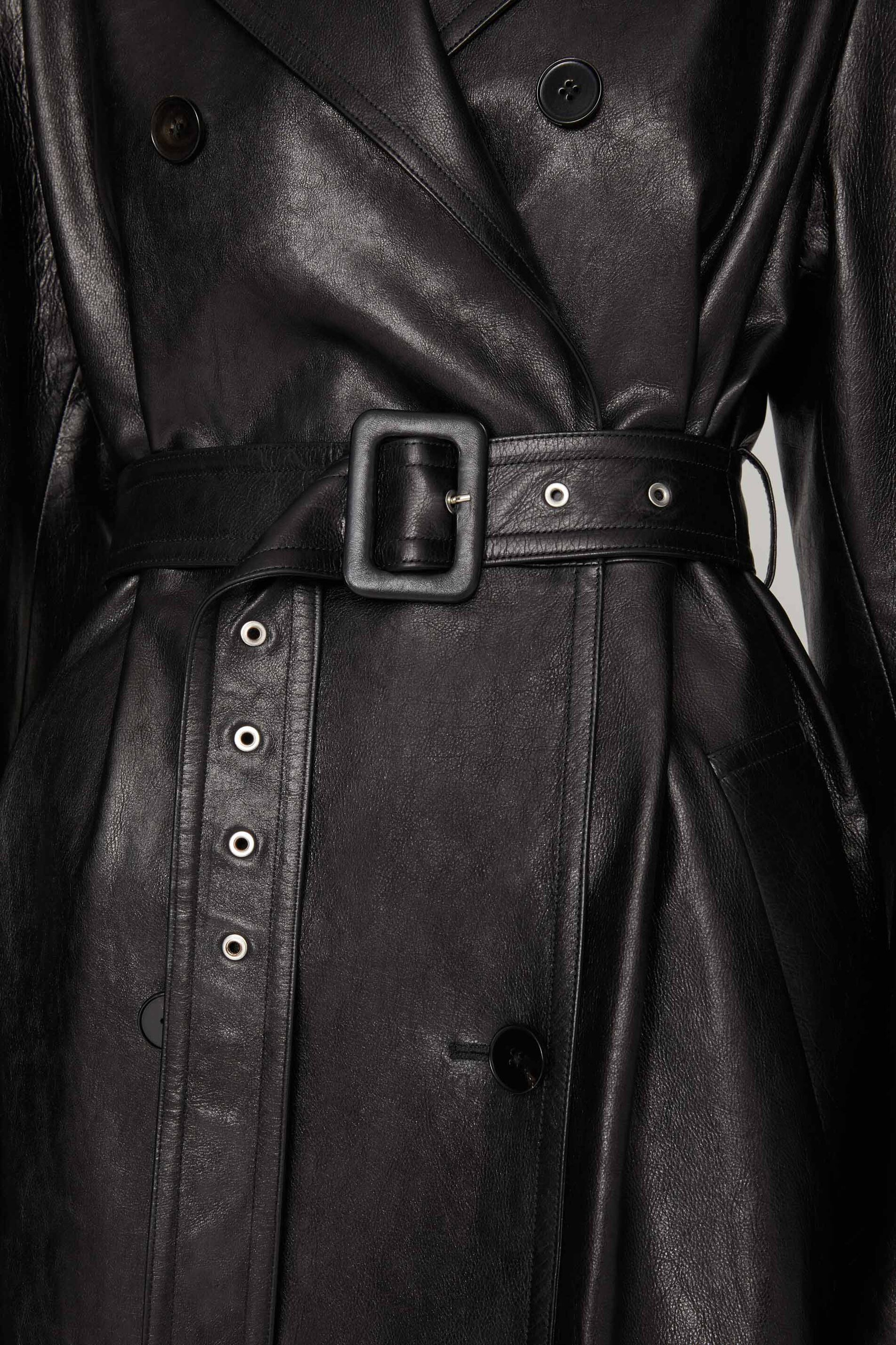 Leather Trench, black, large