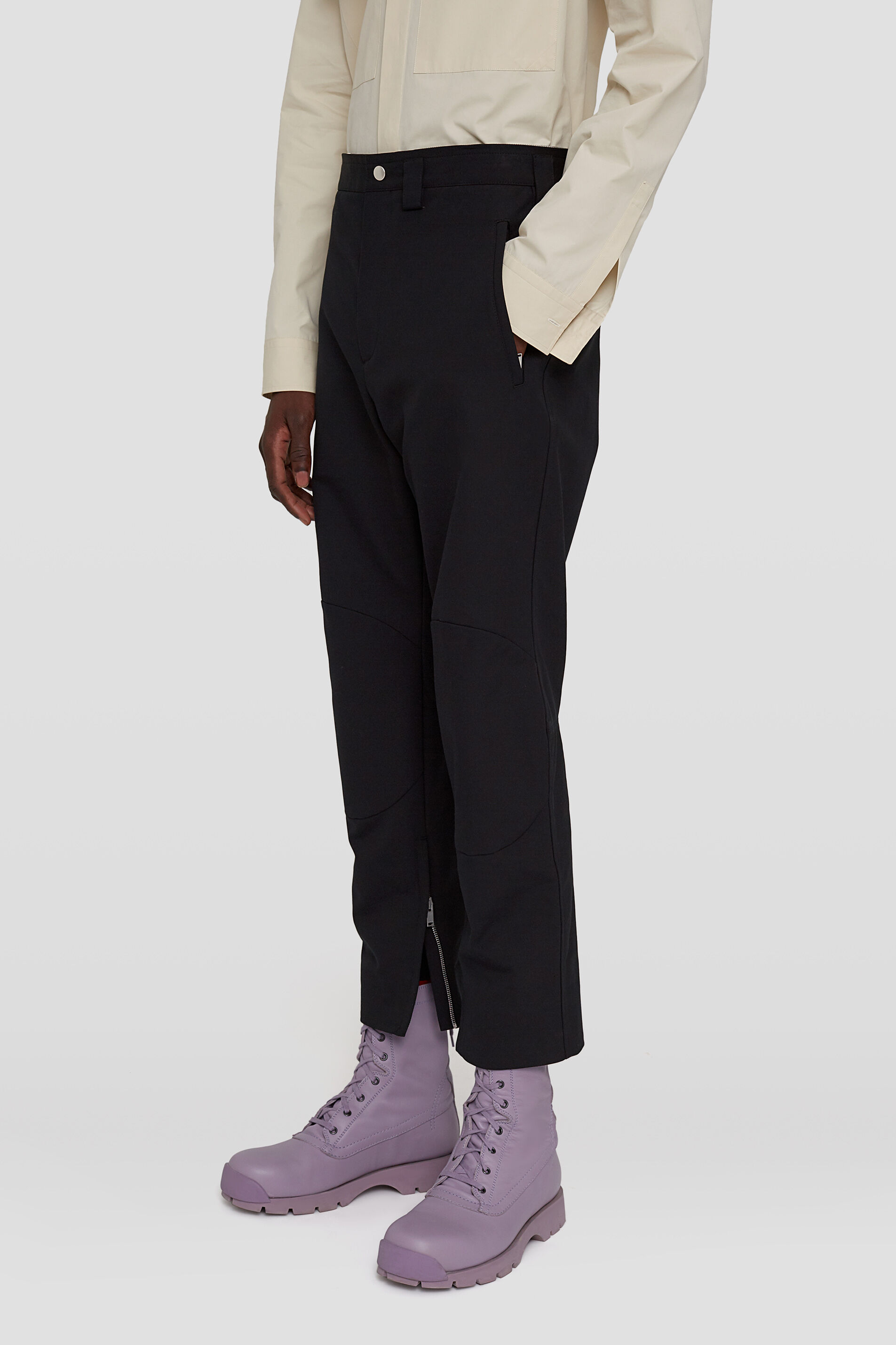 Zipped-Ankle Trousers, black, large