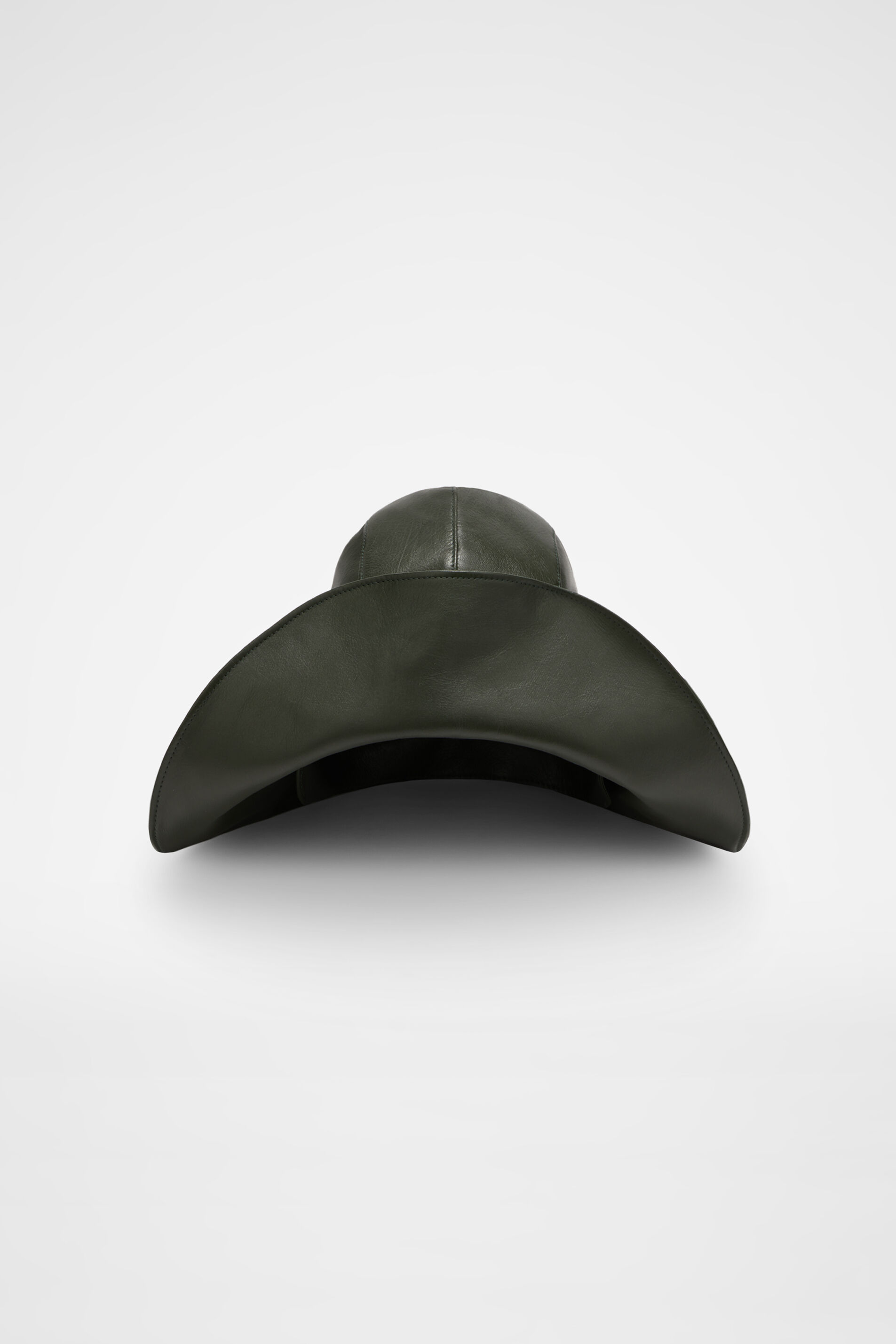 Leather Hat, dark green, large
