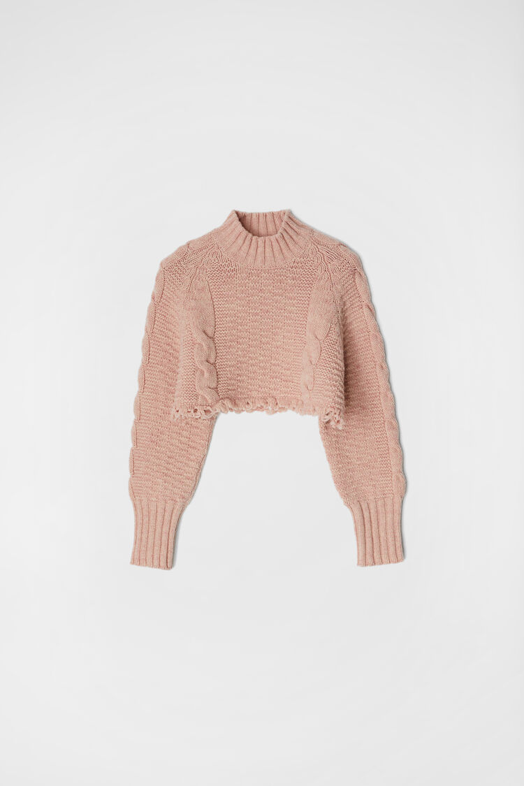 Cropped Sweater, pink, large
