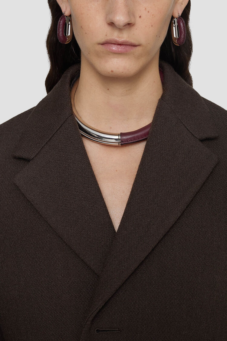 Necklace, dark red, large