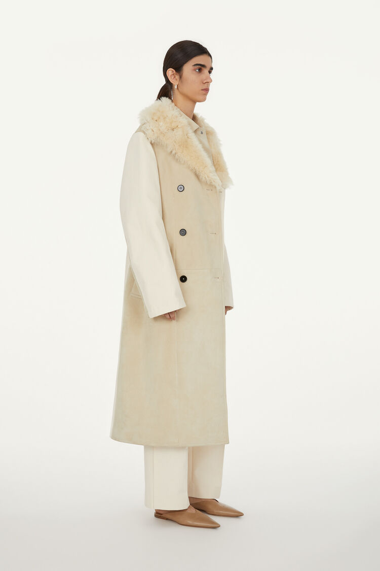 Leather Coat, beige, large