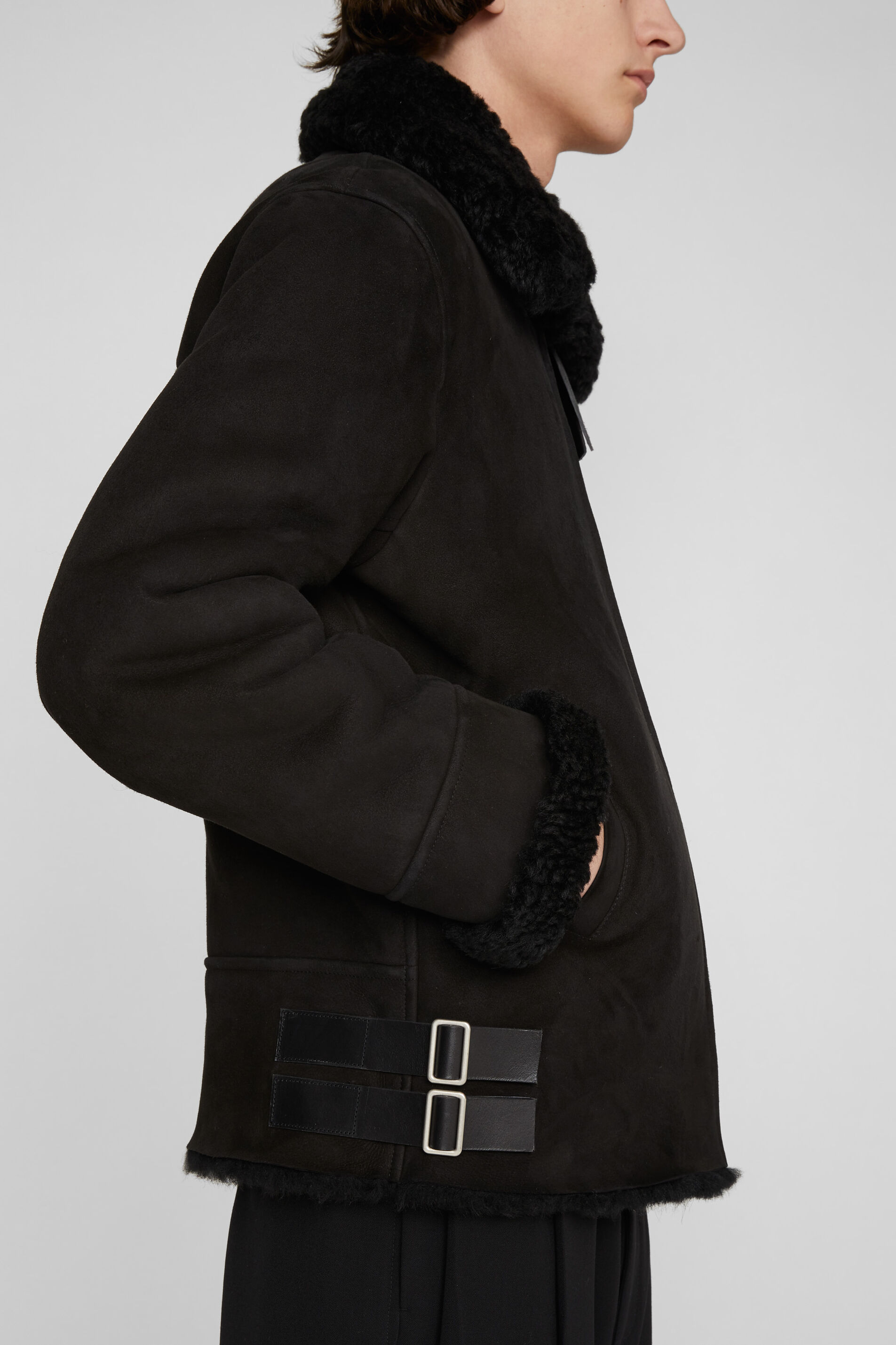 Shearling Jacket, black, large