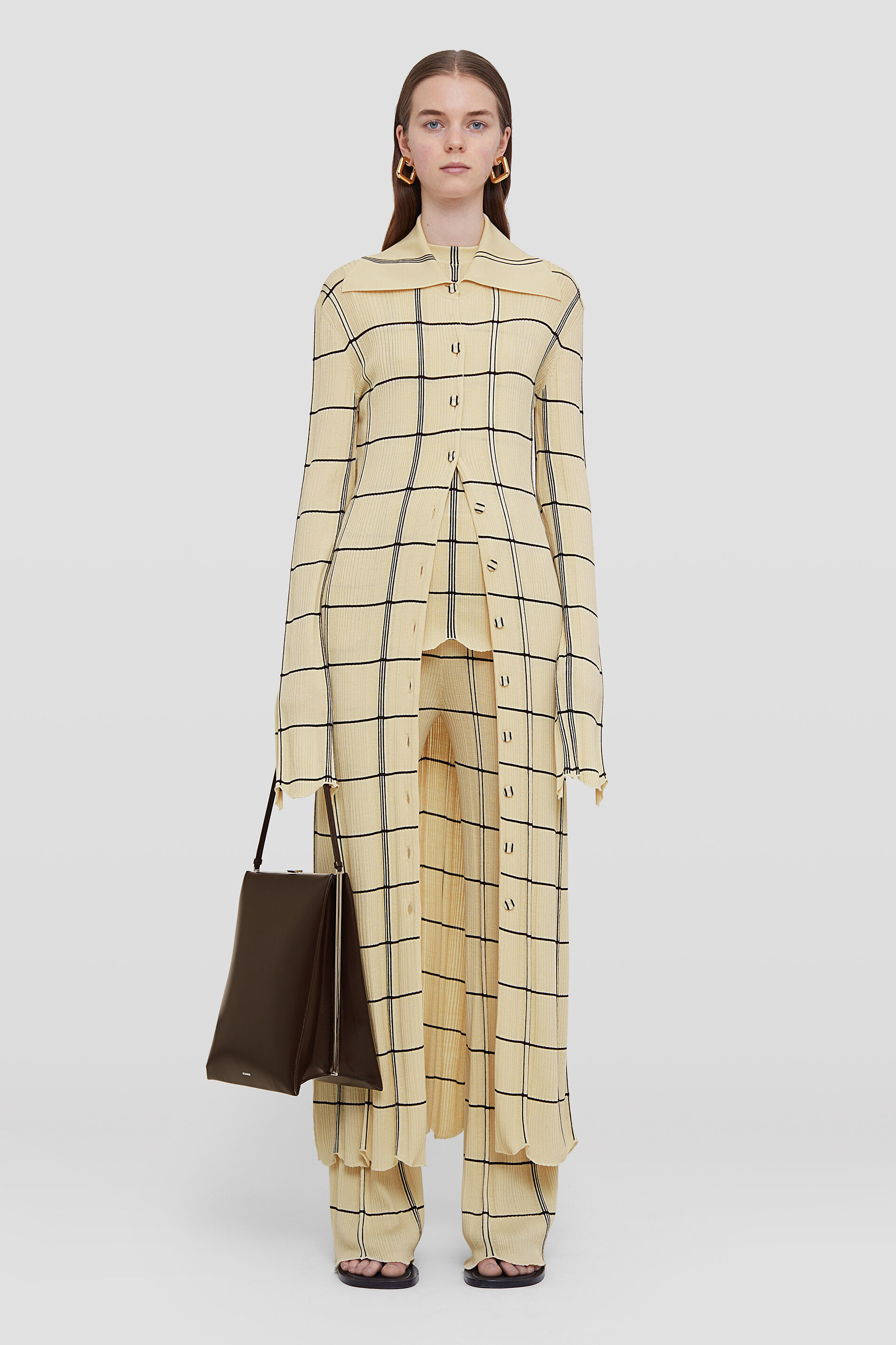 Checked Cardigan, beige, large