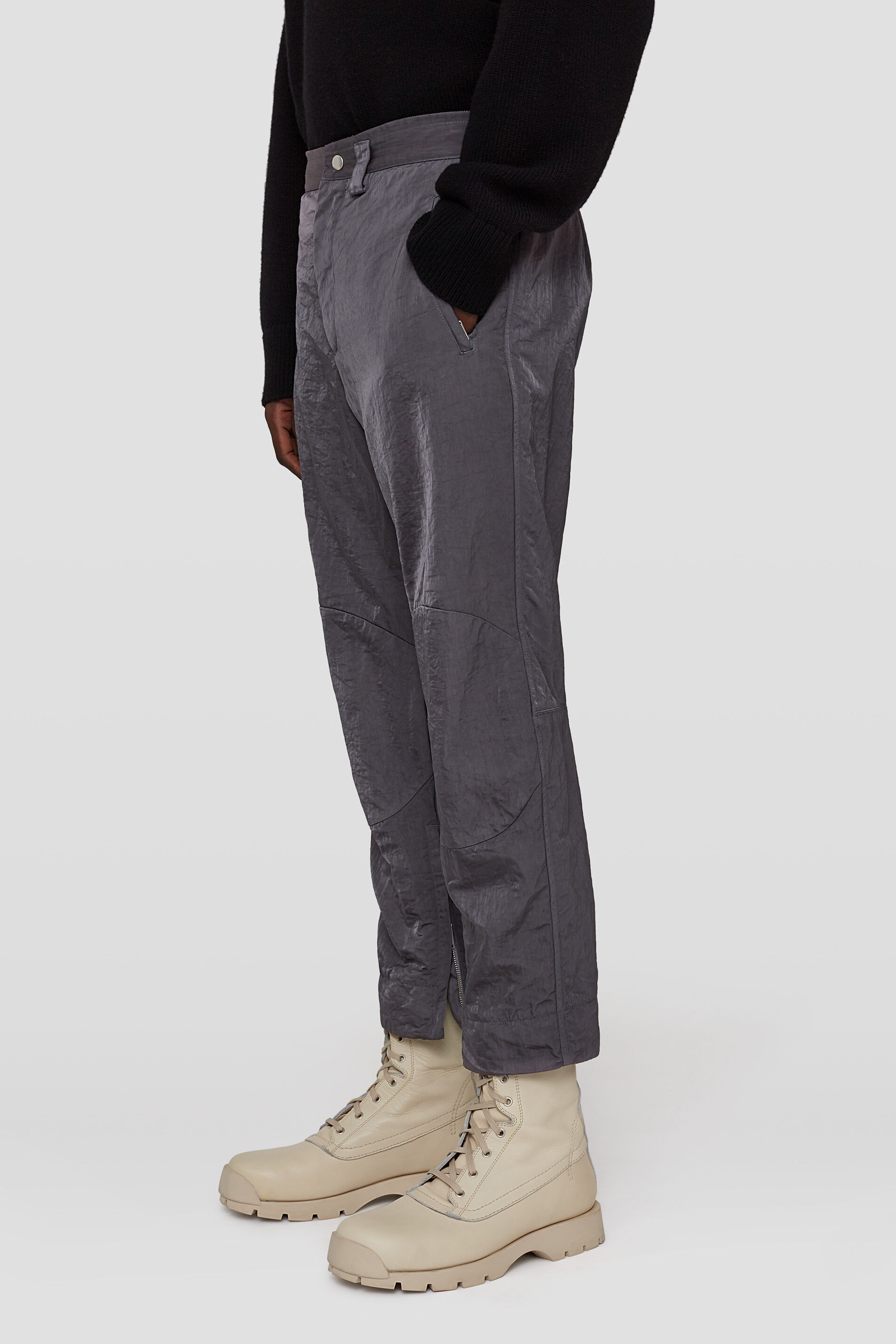Zipped-Ankle Trousers, grey, large